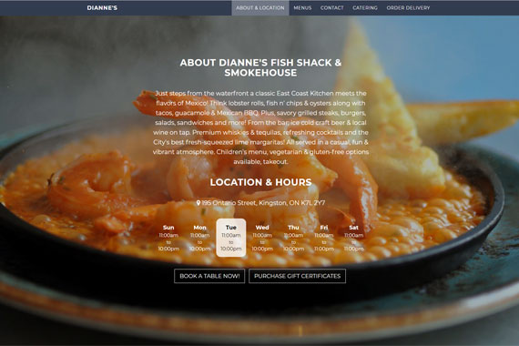 Revue Design, Belleville - Website Design for  Dianne's Fish Shack & Smokehouse