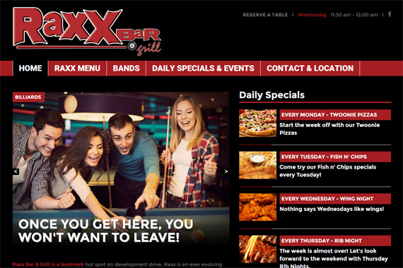 Revue Design, Belleville - Website Design for Raxx Bar